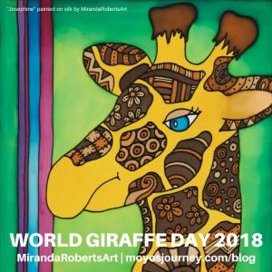 Giraffe painted on silk by MirandaRobertsArt